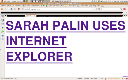 Sarah Palin Uses Internet Explorer