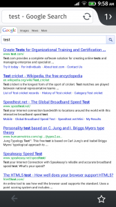Screenshot of FirefoxOS browser googling for 'test'